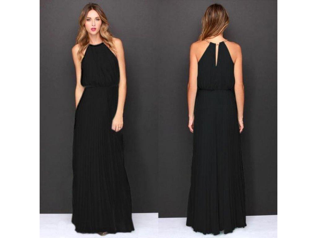 beb550f5c13 A Dlouhé letní šaty černé šifon antický styl 239 - trendy-obleceni.cz