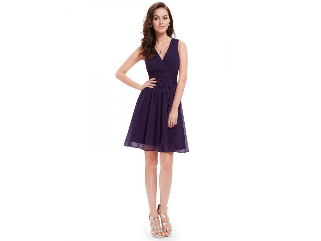 Ever Pretty letní šaty krátké tmavě fialové 3989 - trendy-obleceni.cz 3efa8057ab