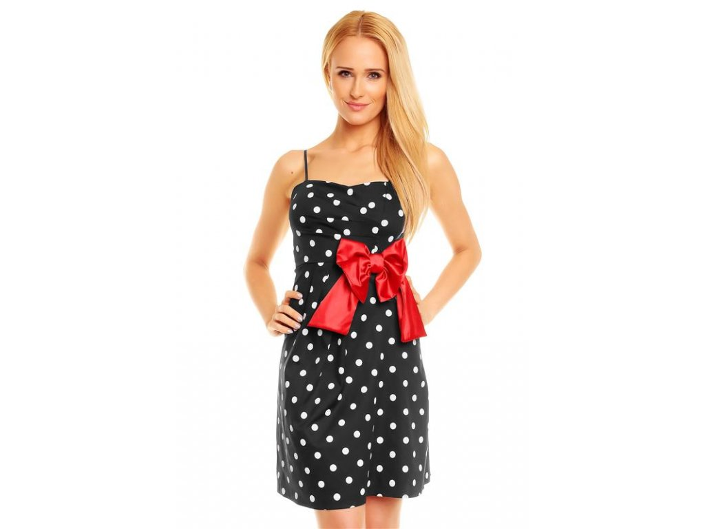 A Letní šaty puntíkaté černé s mašlí
