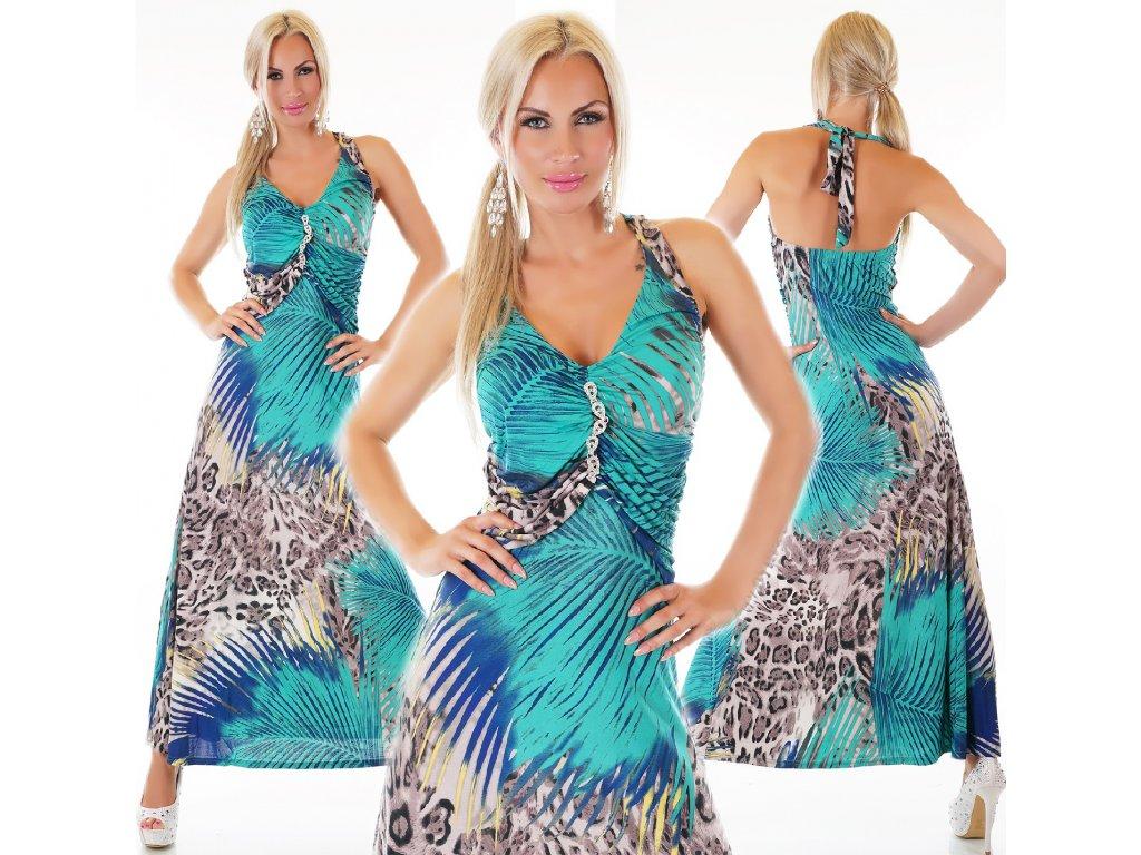Letní vzorované dlouhé šaty se štrasem ST136 - trendy-obleceni.cz da56d14634