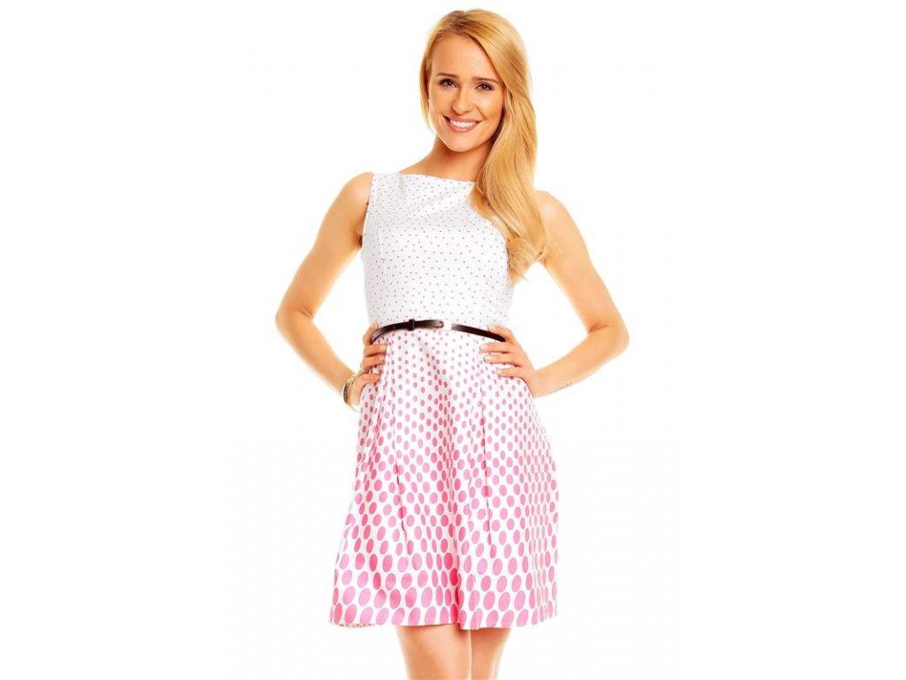 A Letní šaty puntíkaté bílo růžové Italy