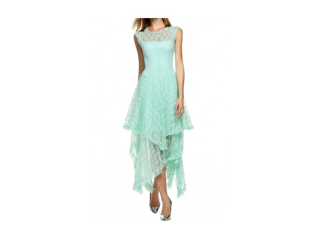 A Letní šaty krajkované mentolové s cípy WB240