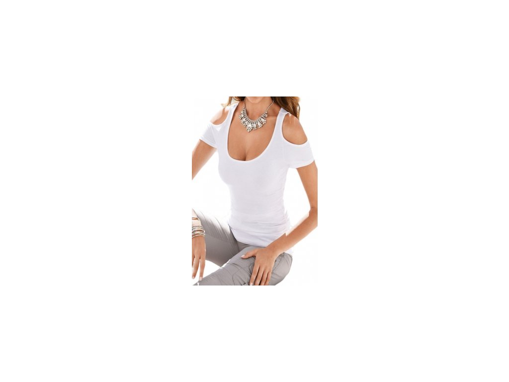white scoop neck cold shoulder stylish t shirt lc25813 1