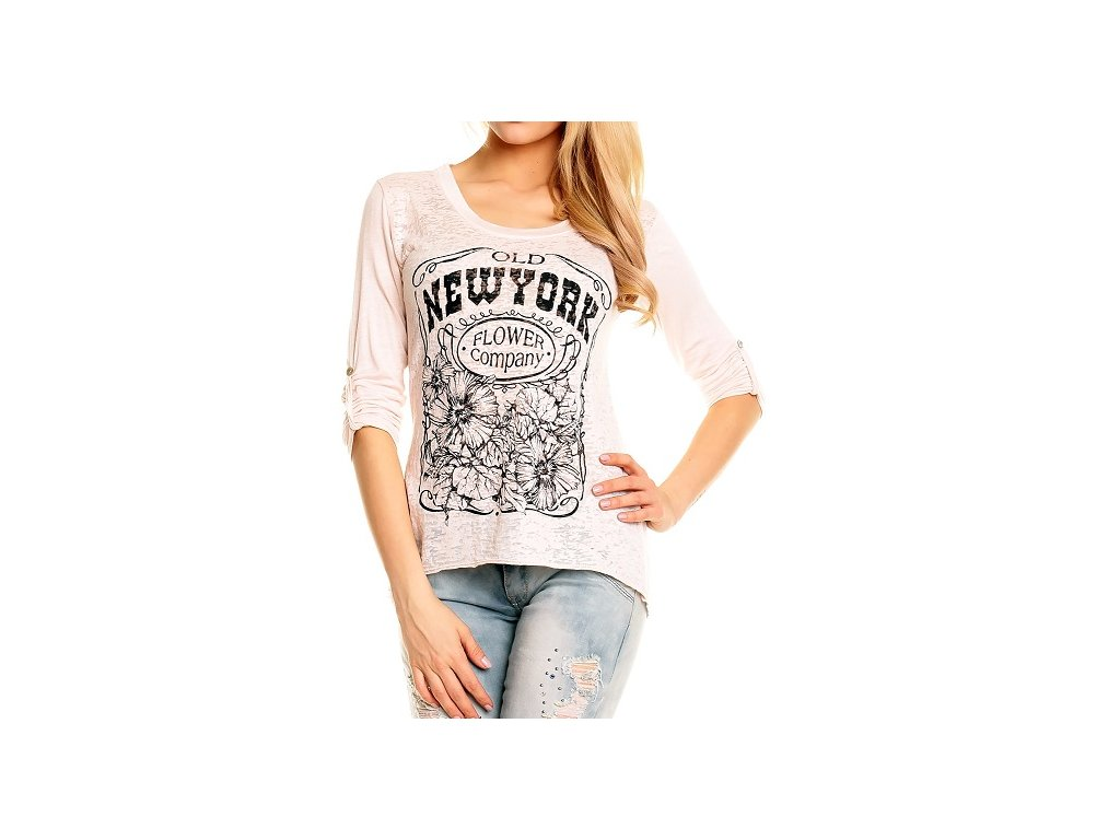A Tričko Made in Italy jemně růžové s potiskem UNI