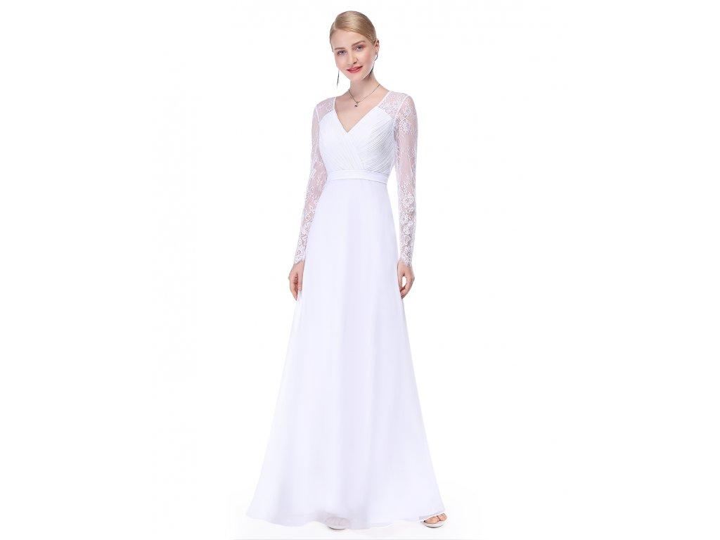 cf1b384ab0b Bílé šaty Ever Pretty plesové šaty dlouhé 8692 - trendy-obleceni.cz