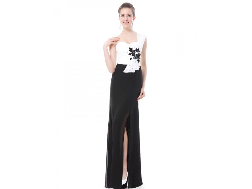 Ever Pretty Krásné černobílé šaty s květy 9849