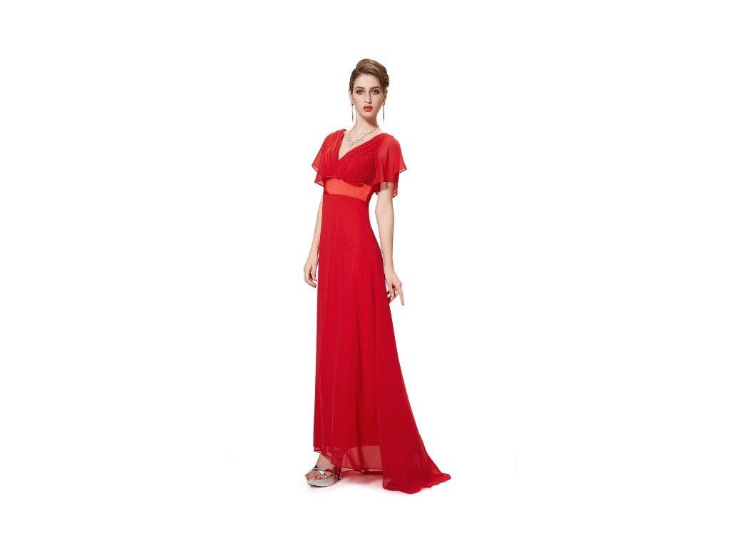 Dlouhé červené šaty s velkým výstřihem a rukávem