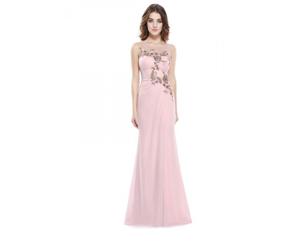 Ever Pretty plesové šaty jemně růžové s krajkou 8850