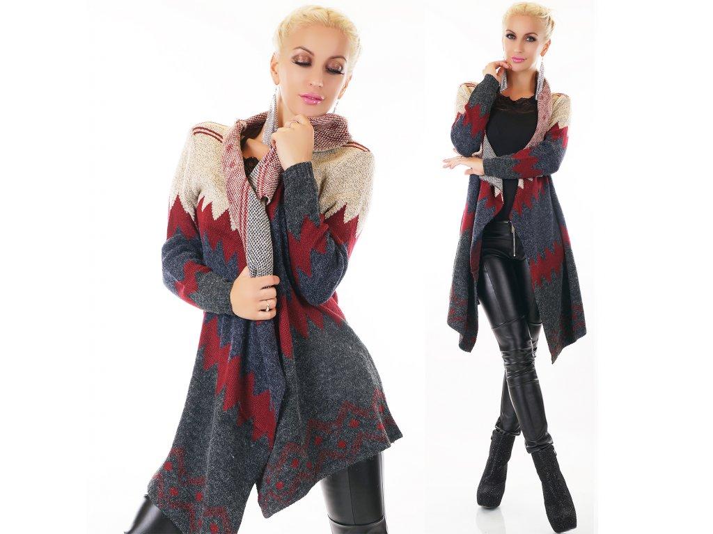 Cardigan dlouhý svetr vzorovaný ST122