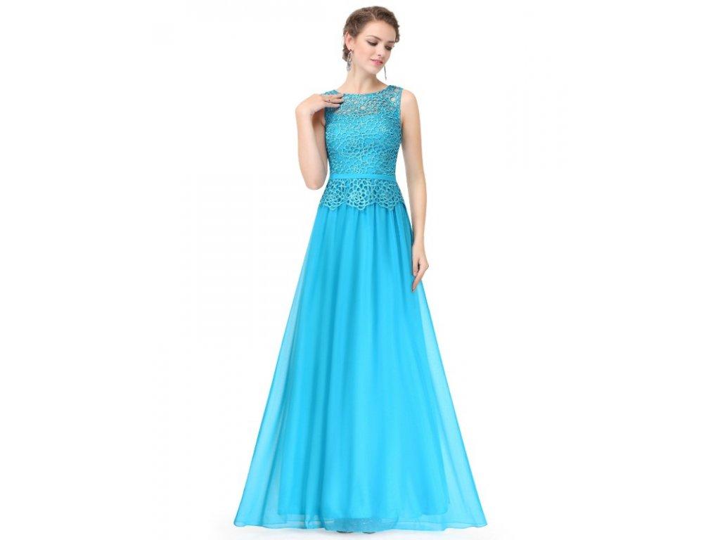 Ever Pretty plesové šaty s krajkou tyrkysové 8904
