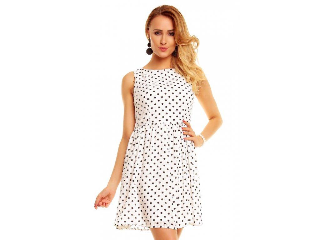 6f39656f53b5 Letní šaty bílé s puntíky Panacher - trendy-obleceni.cz