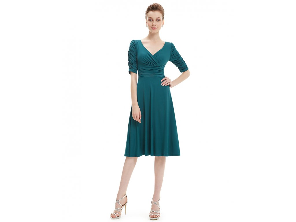 2226cbf6eeb Tmavě zelené krátké šaty 3632 - trendy-obleceni.cz