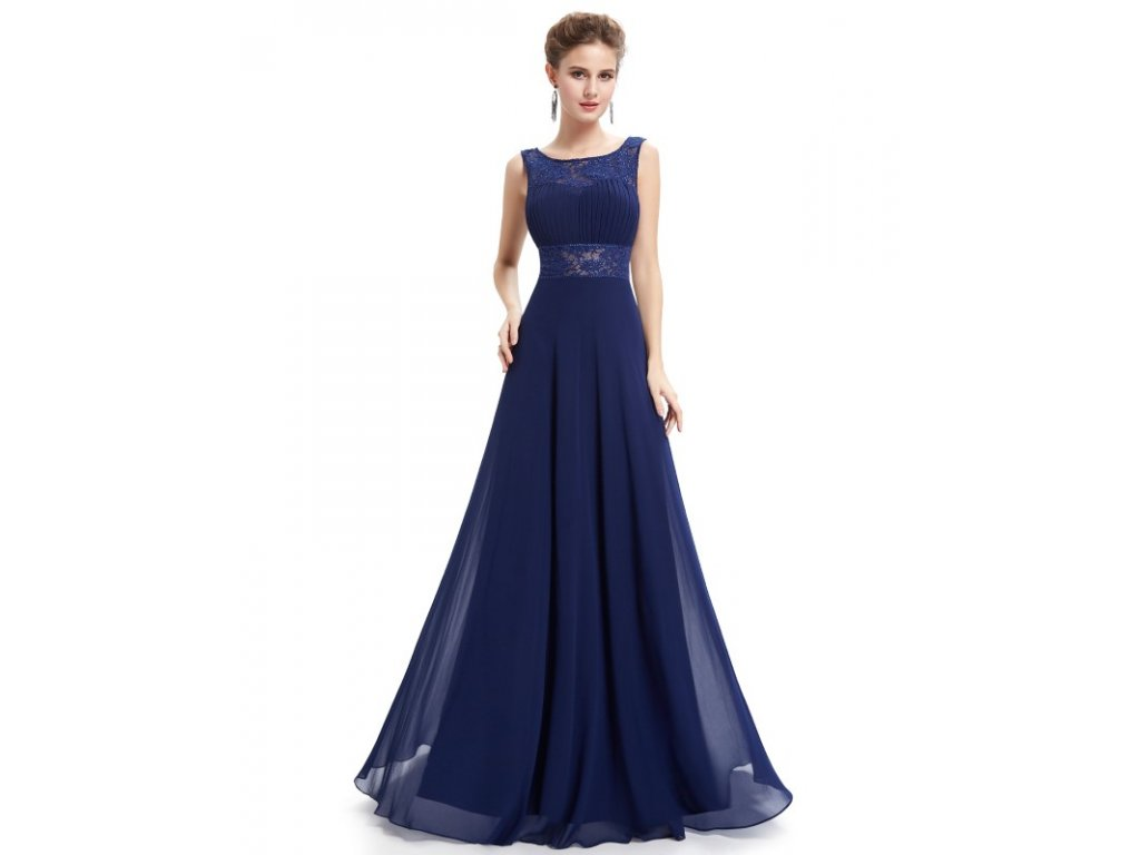 Plesové šaty společenské modré 8741
