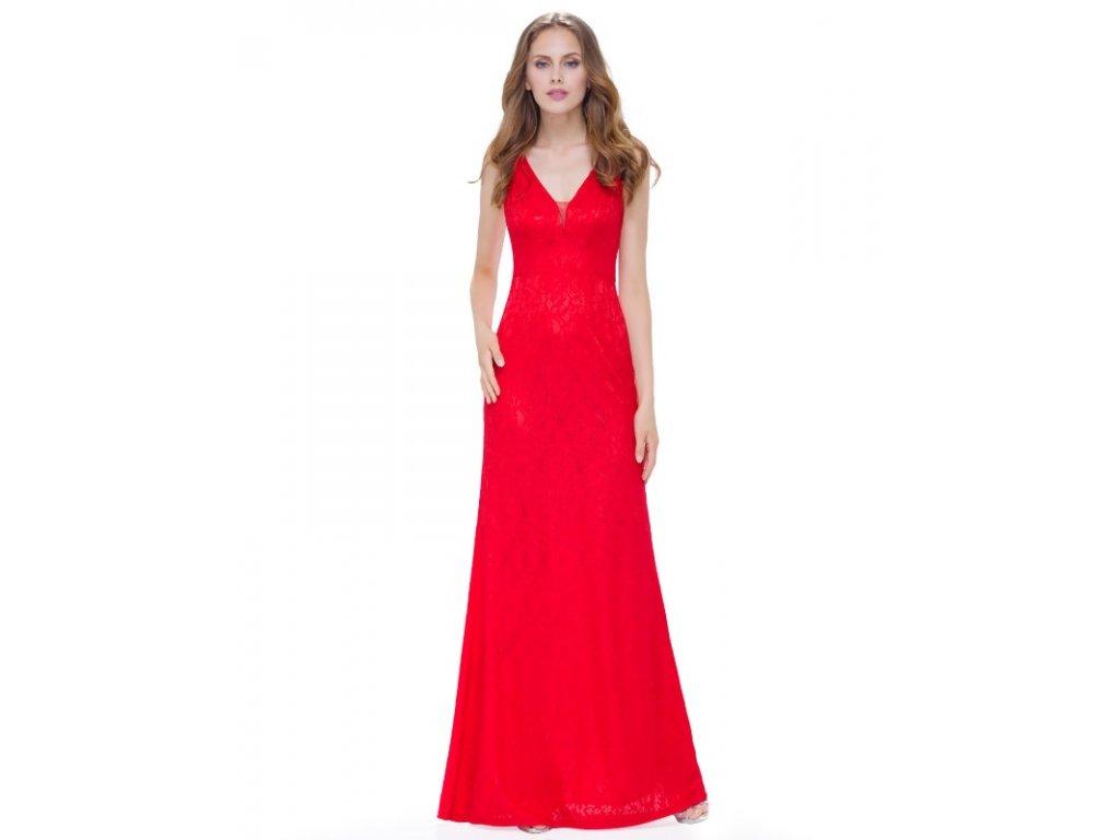 Plesové šaty společenské červené s krajkou 8917