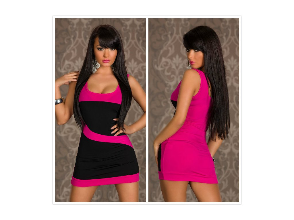 A Letní růžovo - černé mini šatičky