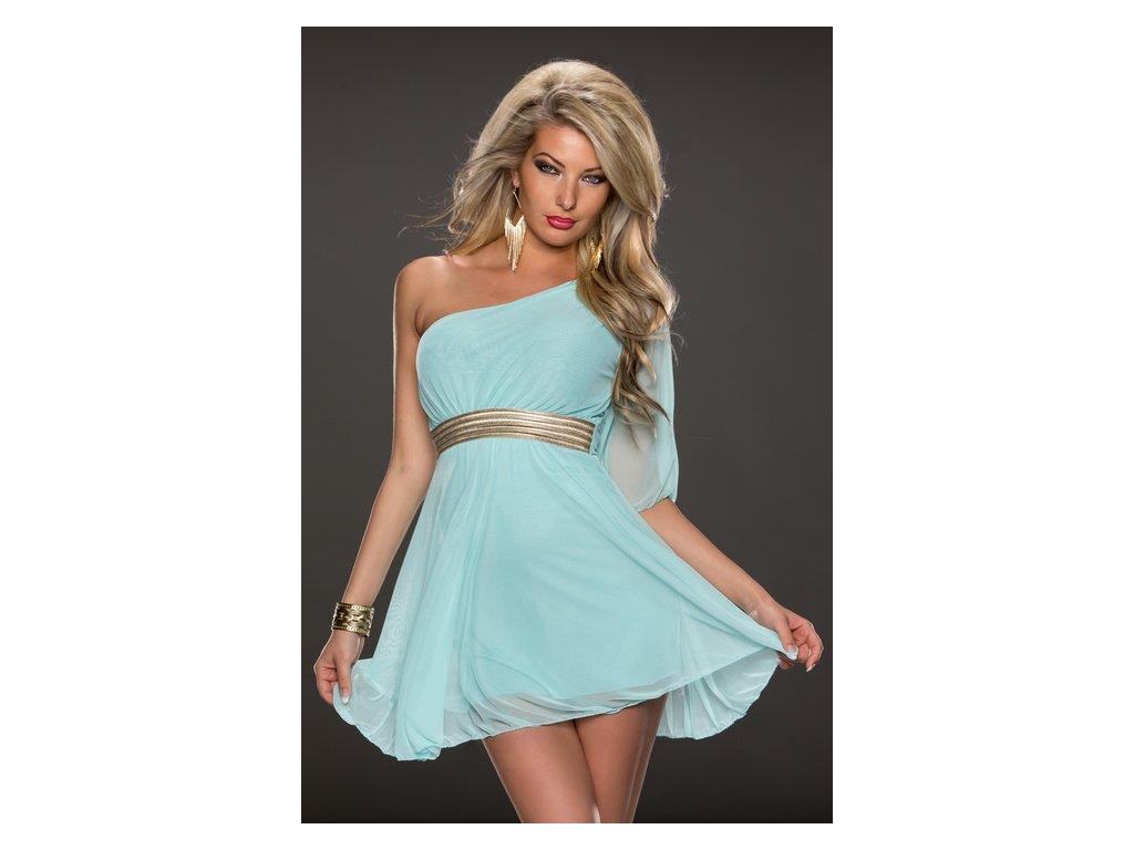 A Modré krátké šaty s páskem 79773