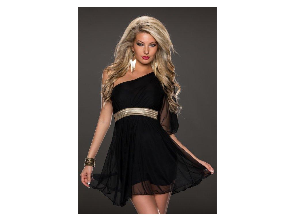 A Černé krátké šaty s páskem 79771