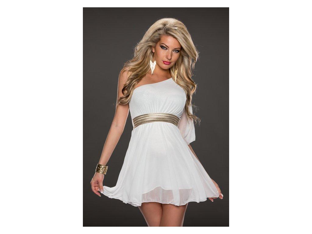 A Bílé krátké šaty s páskem 79772