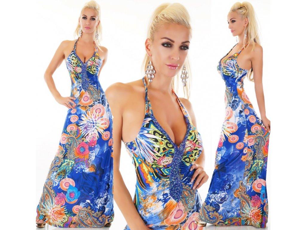 Queen O.F. dlouhé šaty modré ST135