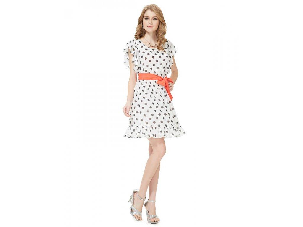 Ever Pretty letní šaty puntíkaté s volánky 5040