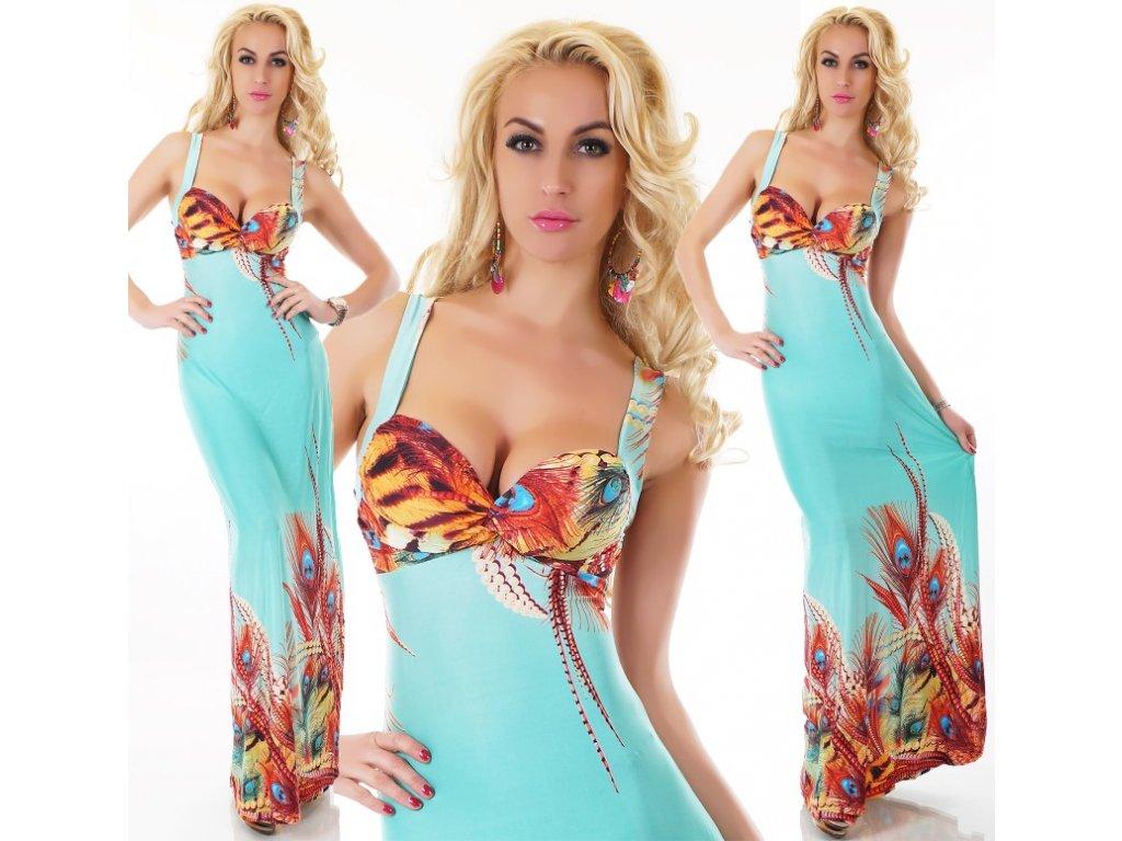 Queen O.F. dlouhé šaty tyrkysové se štrasem ST153