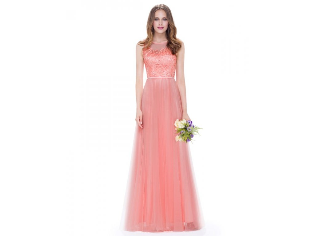 Ever Pretty plesové šaty s krajkou meruňkové 8933