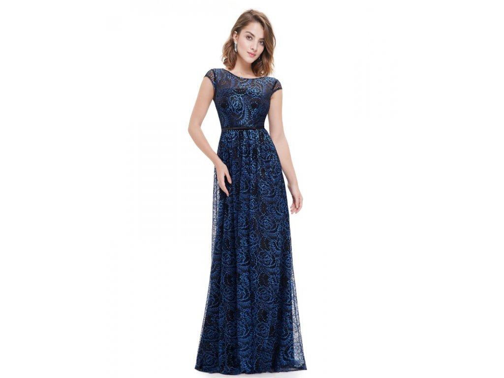 Ever Pretty plesové šaty modré vzorované 8823