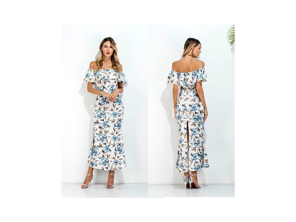 A Dlouhé letní šaty s květy a volánem 6363-0