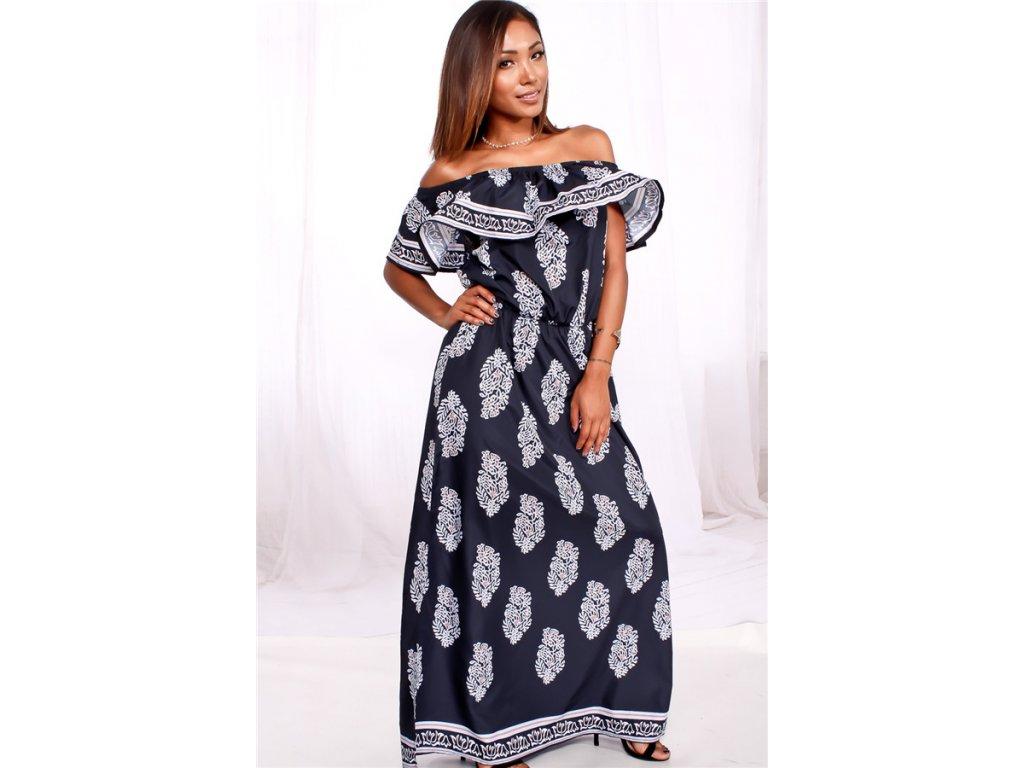 A Dlouhé letní šaty vzorované 8617-1 - trendy-obleceni.cz 0a0f59ba98