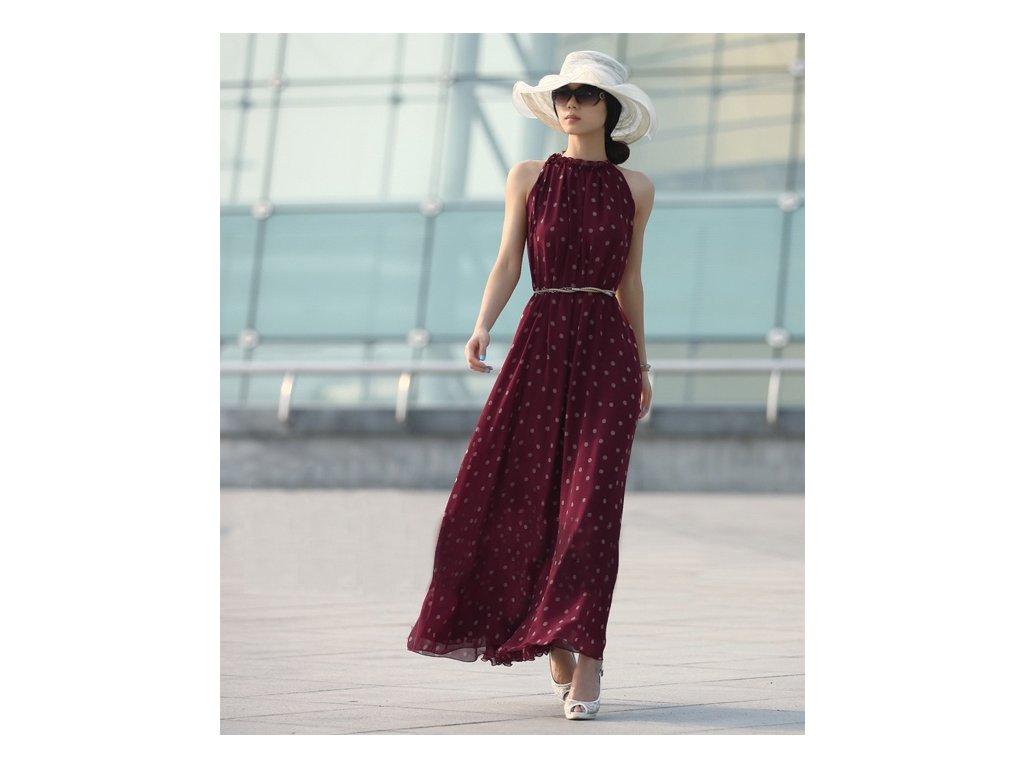 Letní šaty vínové s puntíky dlouhé šifon WB196