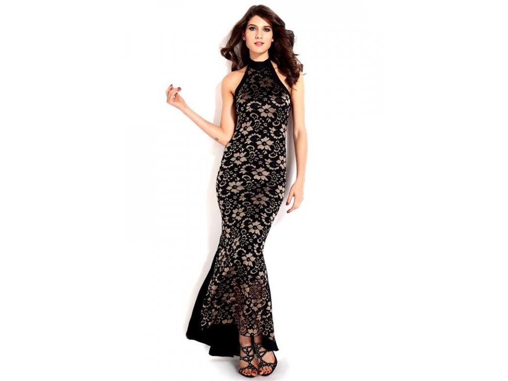 A Sexy šaty s krajkou černo zlaté DL241