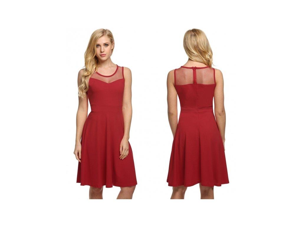 A Letní šaty krátké červené 3113