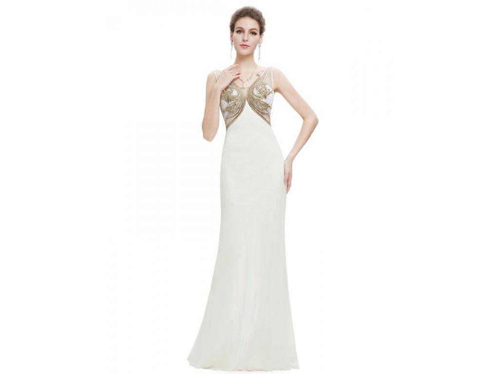 Ever Pretty plesové šaty krémové s výšivkou 8745