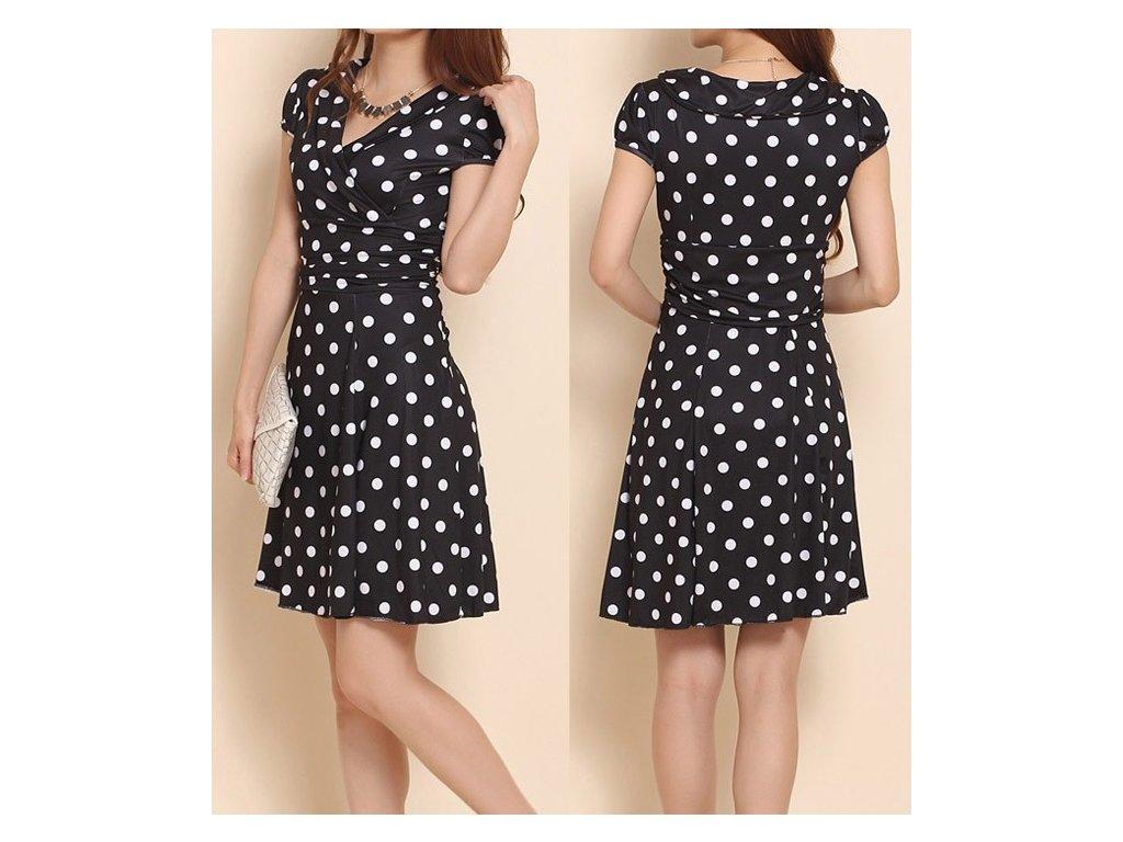 A Letní šaty puntíkaté černo bílé 580B