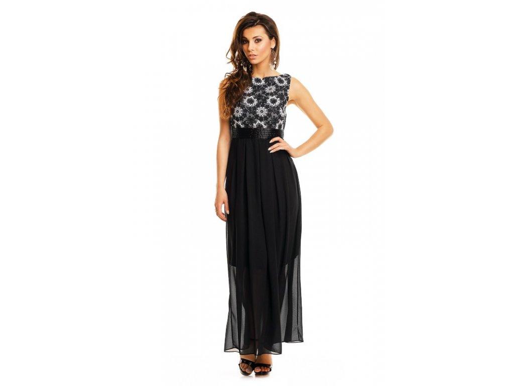 A Večerní šaty černé s výšivkou květy