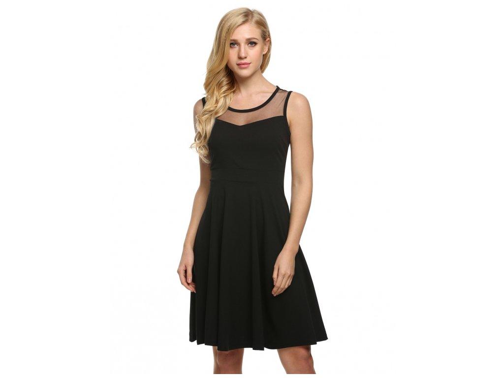 A Letní šaty krátké černé 3113