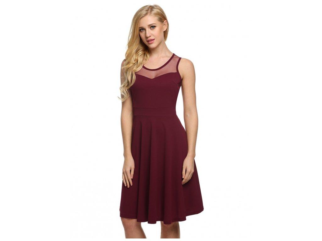 A Letní šaty krátké bordo 3113
