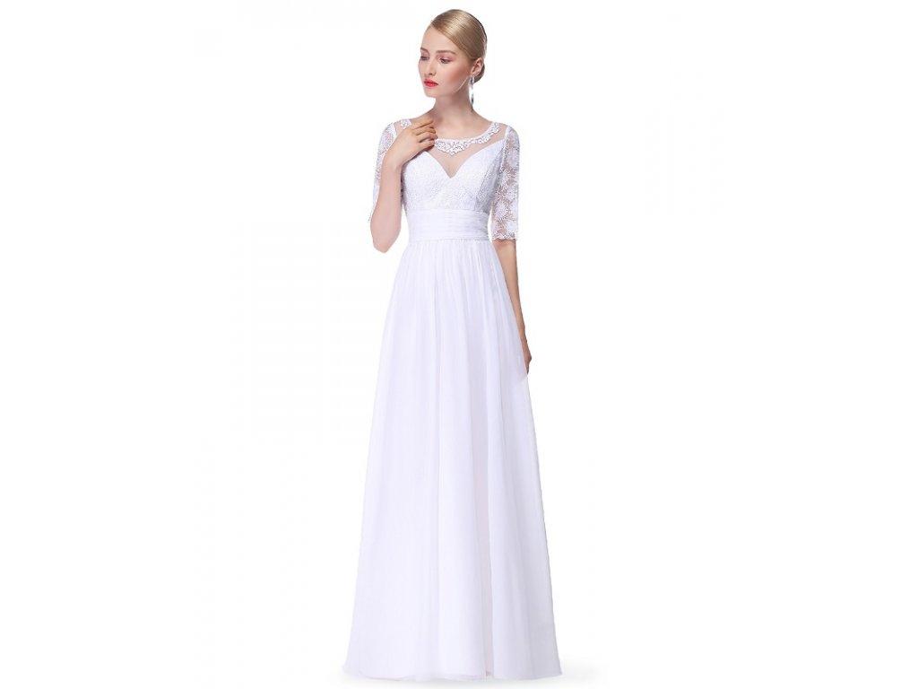 Ever Pretty svatební šaty bílé s rukávky 8655