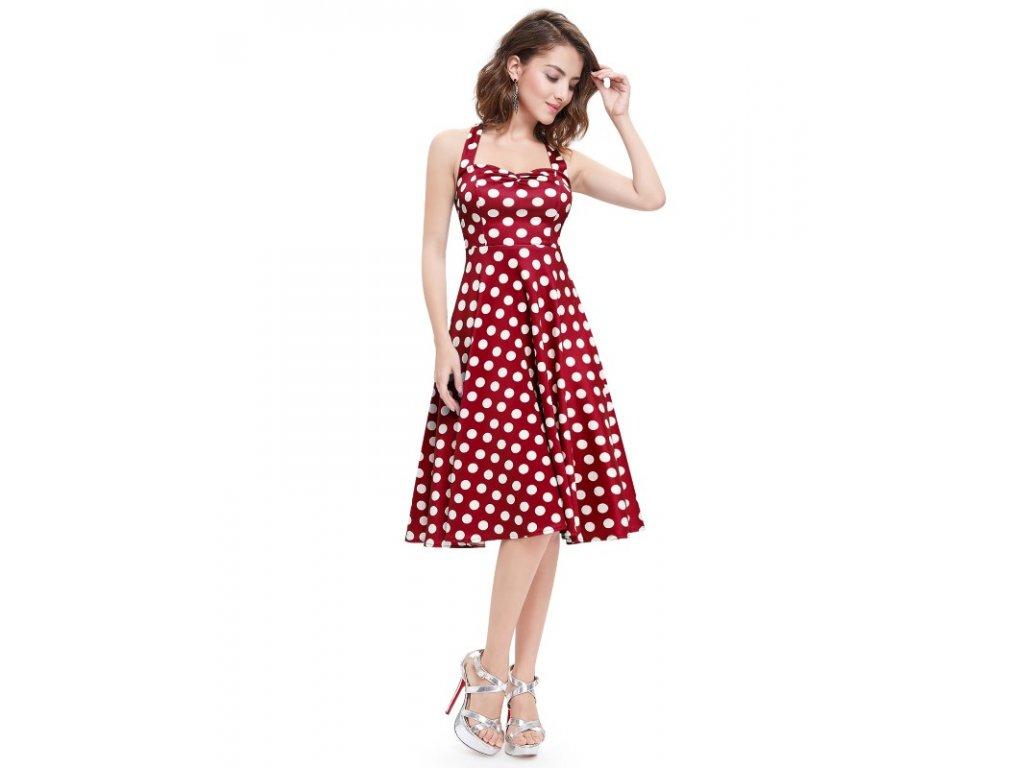 Ever Pretty letní šaty puntíkaté 5349 bordo