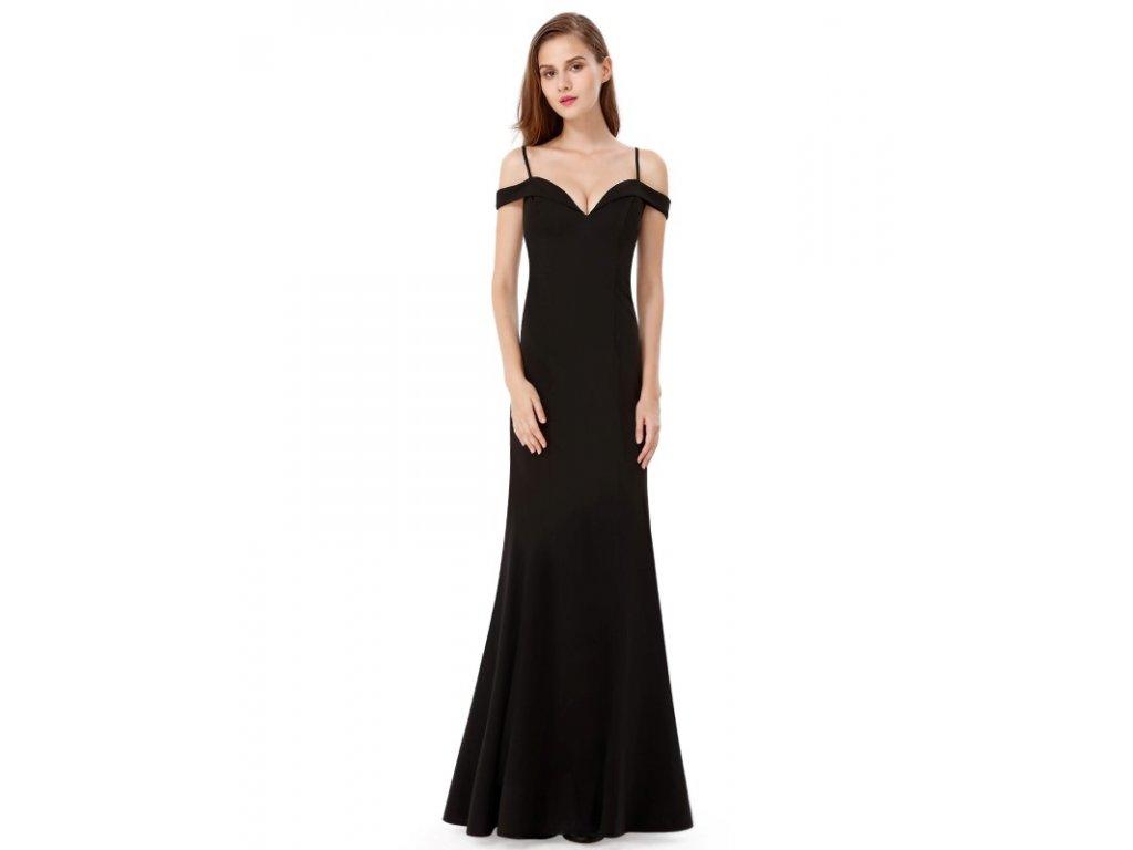 Ever Pretty šaty černé dlouhé spadlá ramínka 7017