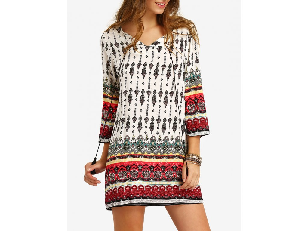 Romwe robe motif tribal multicolore Femme Multicolore GlandFrange dress160405709 QCMUJNY