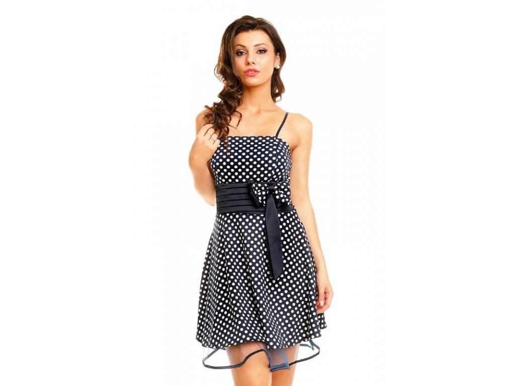 A Letní společenské šaty modré s puntíky HS182