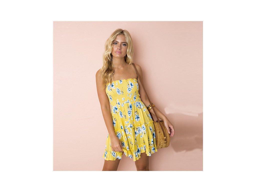A Letní šaty k moři žluté s květy 8690-1
