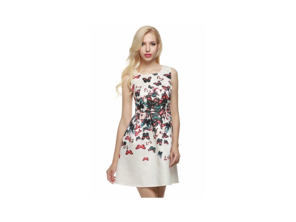 2c040ea1b4c A Luxusní krátké letní šaty bílé s motýli - trendy-obleceni.cz