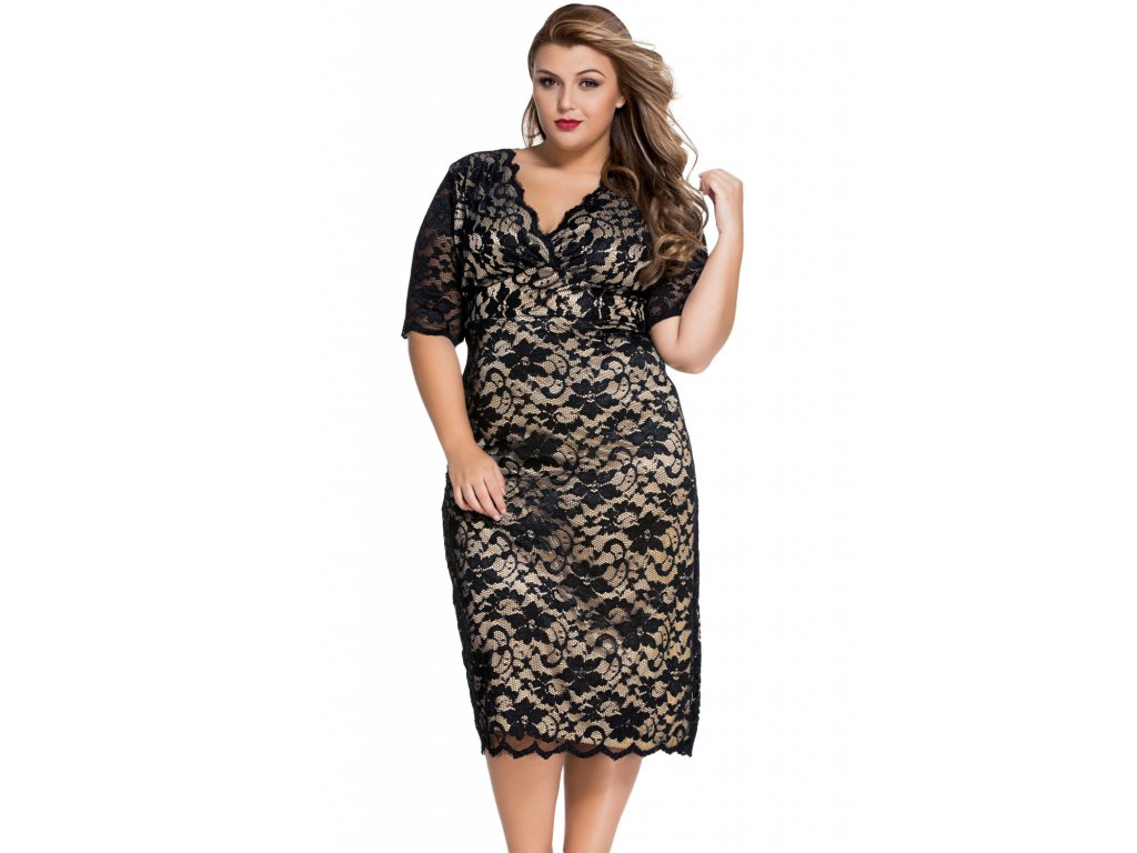 Black Plus Size V Neck Half Sleeve Lace Midi Dress LC61046 2