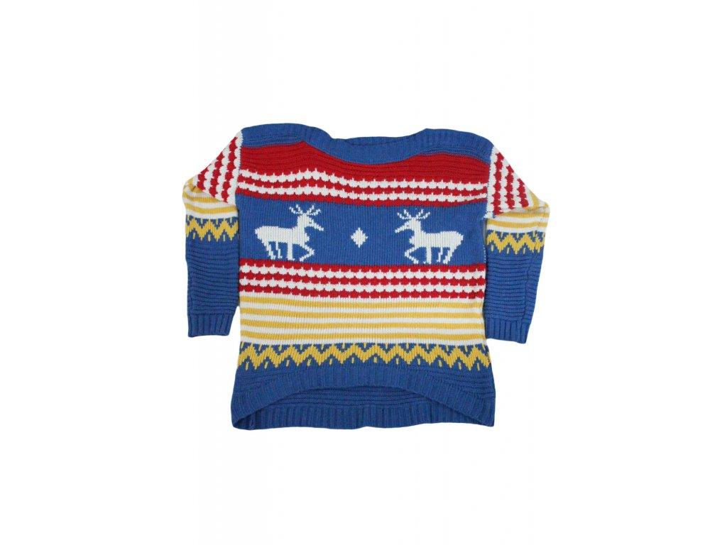 blue christmas striped and deer winter sweater lc27529 2