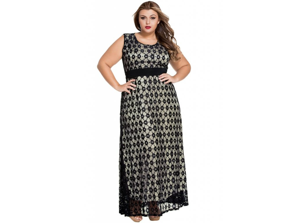 Black Flowery Lace Overlay Belted Curvy Maxi Dress LC61045 2 16017