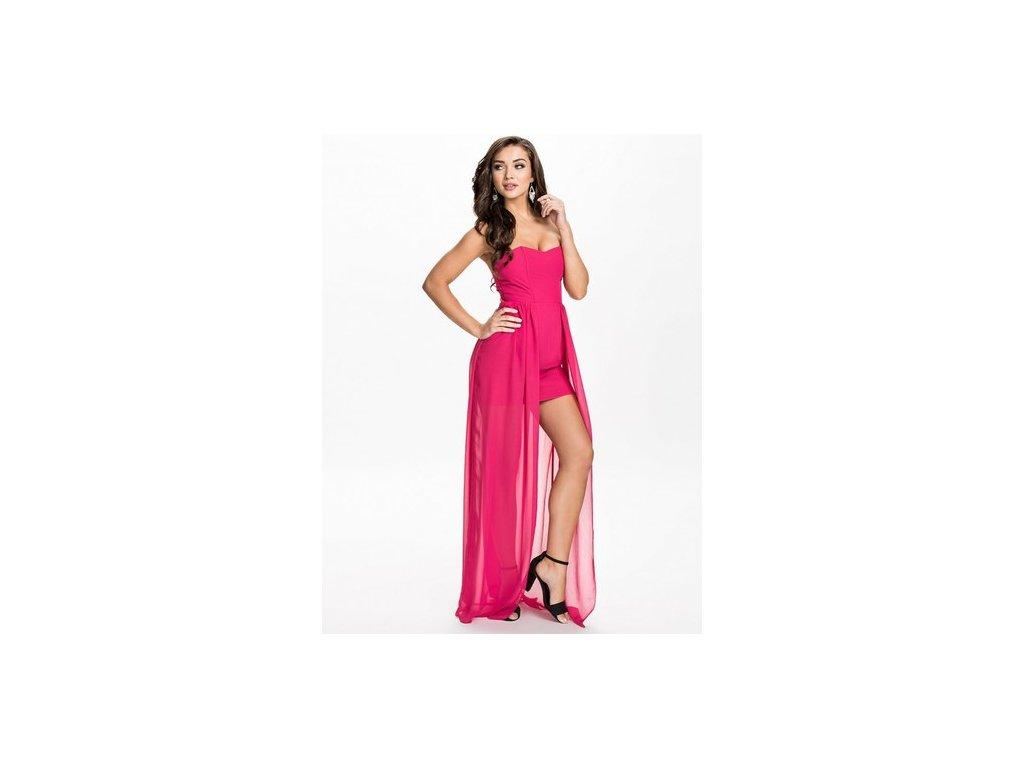 Plesové šaty růžové s vlečkou OH072