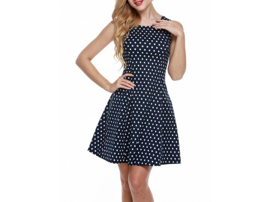 A Letní šaty puntíkaté modro bílé