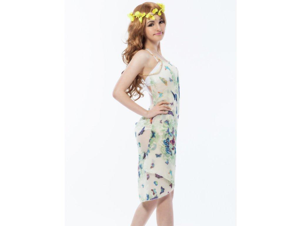 A Plážové zavinovací šaty béžové s motýli - trendy-obleceni.cz 5c456dbd38